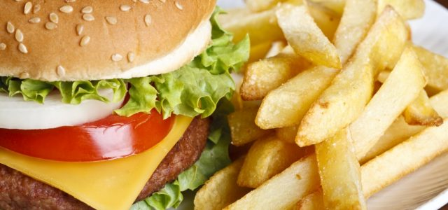 Close up of a burger and fries